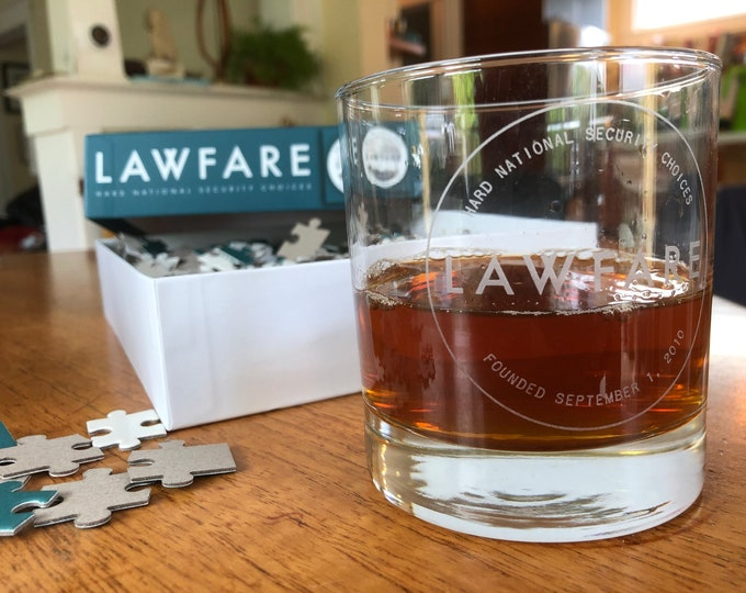 Set of 2 Lawfare Etched Rocks Glasses