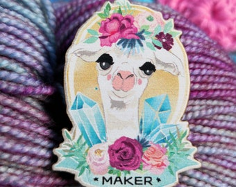 Maker Wooden Pin Badge (like enamel) with Alpaca llama for all Crafts, Makers Knitters, Knitting, Crochet, Yarn, Secret Santa