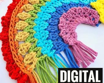 Crochet Rainbow Wall hanging PATTERN The Stitch Foundry boho