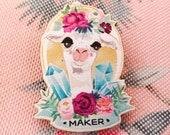 Maker Wooden Pin Badge (l...