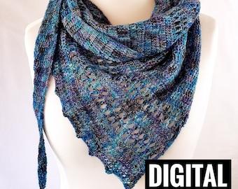 One skein crochet shawl scarf pattern DIGITAL PATTERN ONLY