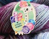 Stash Queen Wooden Pin Badge (like enamel) with Alpaca llama for Knitters, Knitting, Crochet, Yarn, Secret Santa