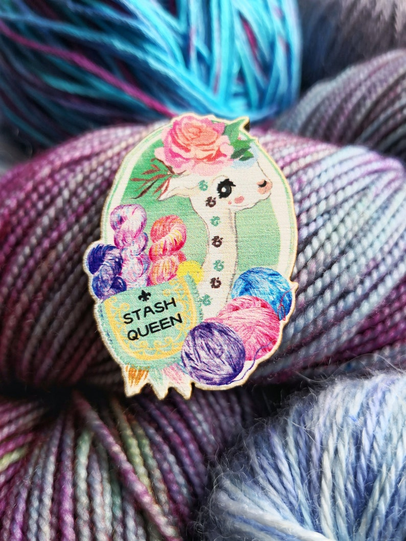 Stash Queen Wooden Pin Badge like enamel with Alpaca llama image 0
