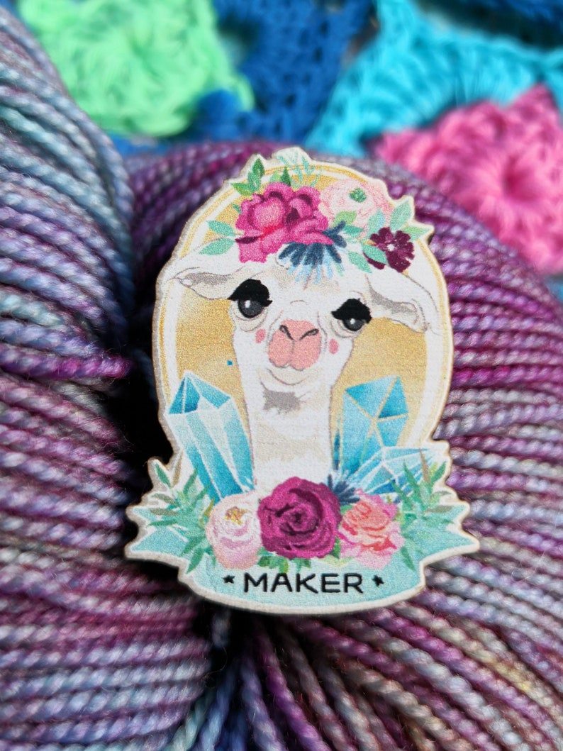 Maker Wooden Pin Badge like enamel with Alpaca llama for all image 0