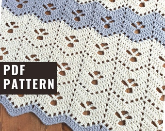 Midwife Ripple Crochet blanket pattern baby and throw blanket size