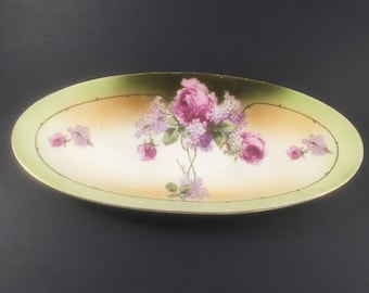 Glass Other Art Glass Antique Celery Candy Center Dish Flowers Graphics Two Sided With Handle Bowl