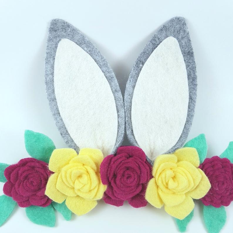 Bunny ear headband bunny headband rabbit headband felt floral crown felt bunny headband bunny flower headband felt bunny ears