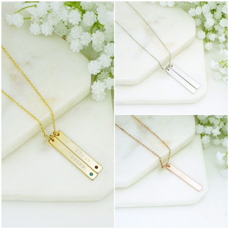 Mom Necklace Mother Birthstone Necklace Personalized Mother Necklace Kid/'s Name Birthstone Necklace Bar Necklace for Mother