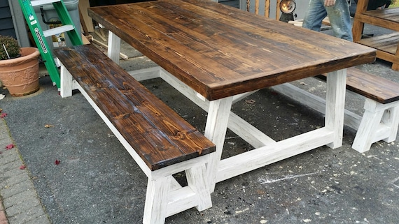 Farmhouse Table- 4x4 Truss Beam Rustic Farmhouse Dining - Kitchen Table