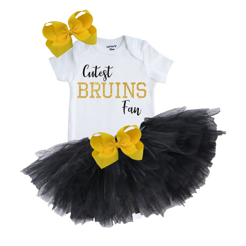 Bruins Baby Outfit Newborn Bruins Gift Baby Shower Gift Bruins Baby Girl Tutu Outfit Hockey Baby Outfit Bruins Baby Girl Outfit