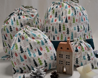 Christmas gift idea, made in France, handmade French shelter, fabric packaging for gifts, 100% cotton pouch, Christmas decoration