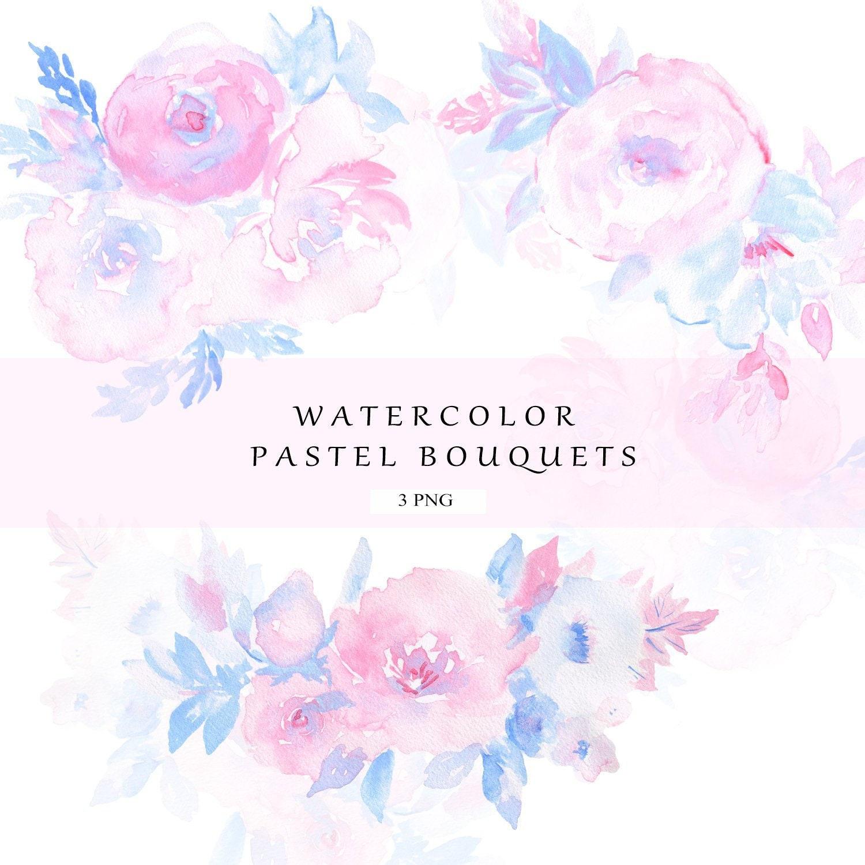 Watercolor Flower Bouquet Clipart Watercolor Floral Bouquet Etsy