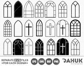 Church Windows svg, Church Windows bundle, Gothic Windows, Church Windows Frame, Windows svg, Church Windows Clipart, Windows Silhouette,