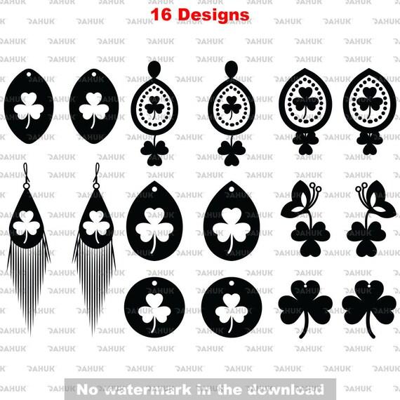 Shamrock Earrings Svg St Patricks Day Svg Charm Fun Svg Cut Etsy