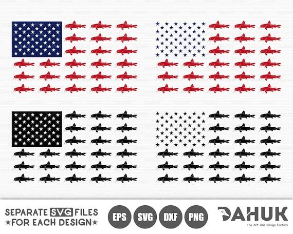 Fishing Usa Flag Svg Catfish Flag Svg American Flag Fish Etsy