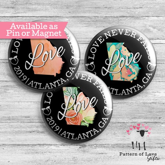 Love Never Fails - 2019 International Convention - Atlanta, GA - Button  Badge - JW Gifts - Pin or Magnet