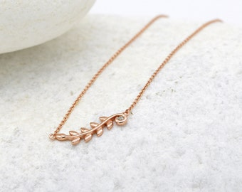 3196e1703 Olive Leaf Vine Pendant, Petite Dainty Olive Branch In 14k Rose Gold  Sterling Silver, CZ Leaf Necklace, Layered Chain Necklace Gift for Mom