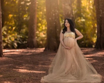 a0f3c05907618 Gold Sequins Tulle Maternity Dress for Photo Shoot|Sequin Maternity Gown|Tulle  Dress|Maternity Boudoir| Sequins Top | Tulle Skirt| Maternity