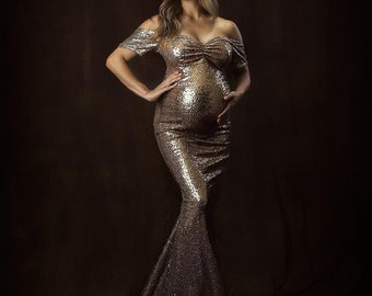 0aa2a989df702 Maternity Dress for Photo Shoot|Mira old gold Sequins Maternity Mermaid  Dress |Trumpet Maternity Gown|Baby Shower DressMaternity Wedding