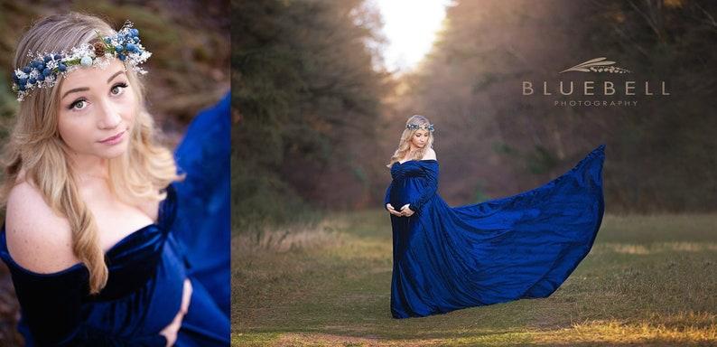 54021fccdfd6f Royal Blue Velvet Maternity DressMimi Bohemian Maternity | Etsy