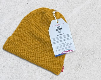 5f58a7bb785 Beanie Wool Winter Hat - Yellow - Very Limited Quantities - 100% Alpaca  Wool - Premium quality - Handmade in the Andes Mountains