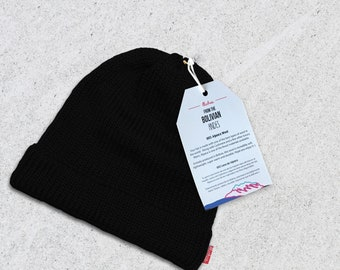 e79c2a87021ff Wool Winter Hat Beanie - Black - Very Limited Quantities - 100% Alpaca Wool  - Premium quality - Handmade in the Andes Mountains