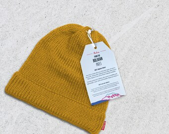 89174cf7 Wool Winter Hat Beanie - Yellow - Very Limited Quantities - 100% Alpaca  Wool - Premium quality - Handmade in the Andes Mountains