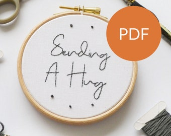 DIGITAL Sending A Hug embroidery PDF pattern for beginners