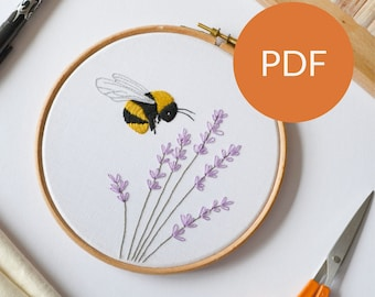 DIGITAL Bee and Lavender embroidery PDF pattern for beginners as a self care and mental health gift to yourself or for a creative friend