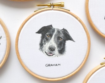 Personalised painted pet portrait embroidery hoop art, loss of dog memorial gift for a dog lover