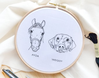 Personalised outline pet portrait embroidery hoop art from your photo, loss of pet memorial gift for pet owner