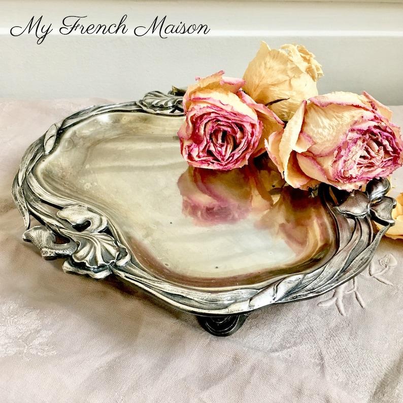 French Vintage Art Nouveau Silver Platter