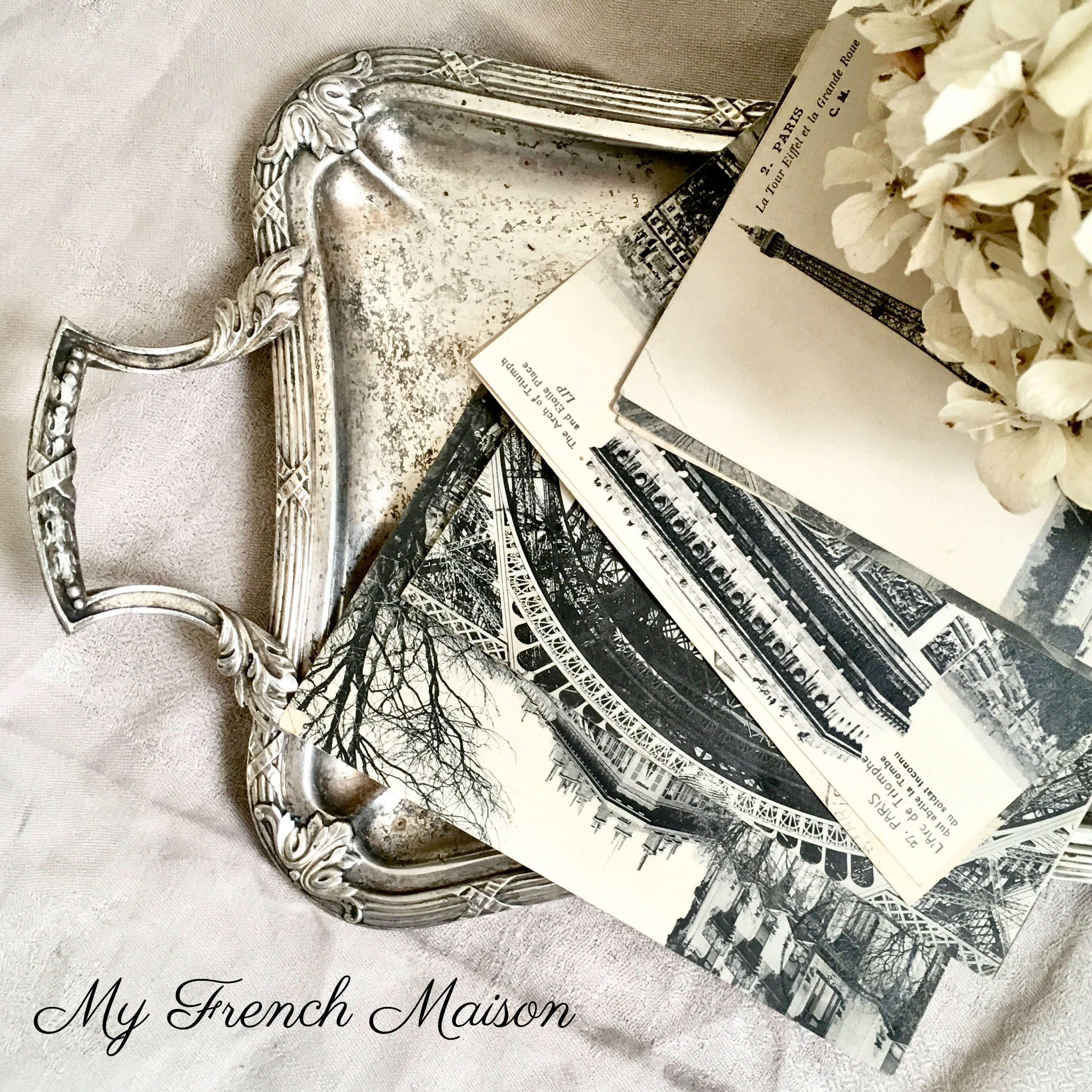 La Maison Du Dressing french vintage ribbon border tray / silver serving tray with handles /  french boudoir vanity tray / dressing table tray / shabby chic decor