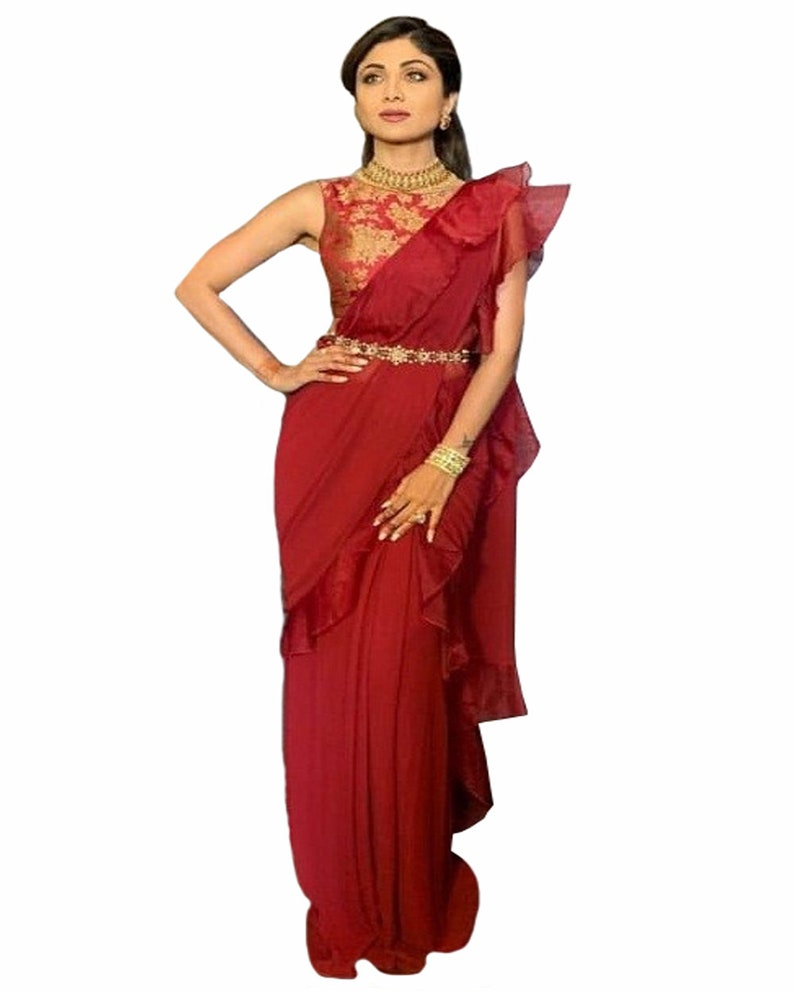 Shilpa Shetty Style Maroon Colour Beautiful Party Wear Ruffle Saree