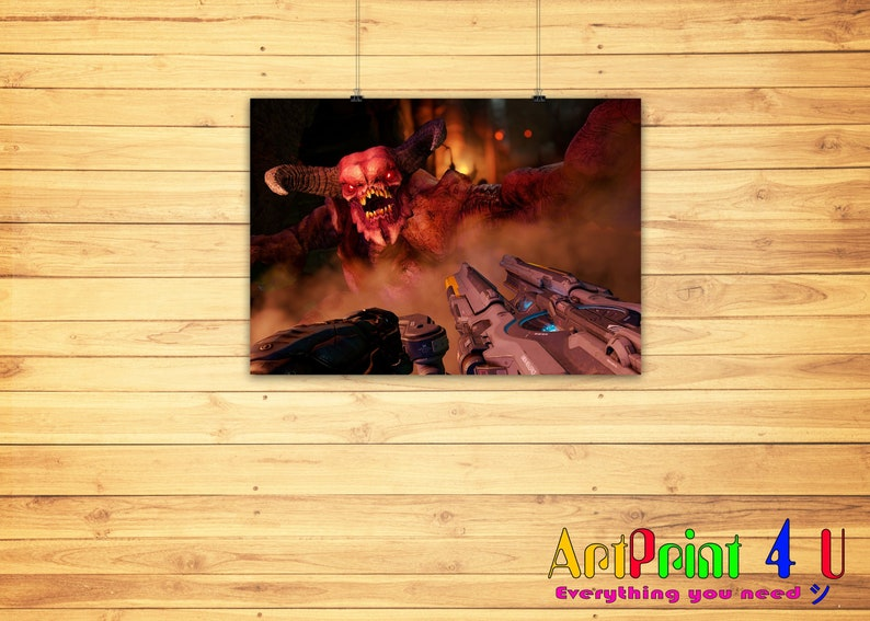 Doom 4 Doomguy Railgun Gauss Cyber Demon Fight Battle Artwork Printed on  High Quality Glossy Matte Satin Paper in A4 A3 A2 A1 A0 Size