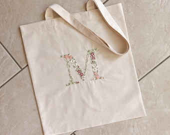 Tote bag with monogram embroidery flowers / handmade from 100% cotton