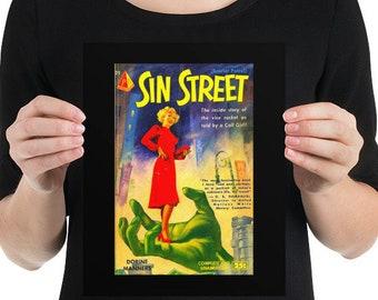 Sin Street Pulp Fiction Vibrant Poster Art Fun Gift
