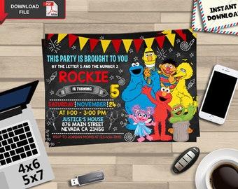 Elmo Invitation Birthday Party Edit PDF Printables Download