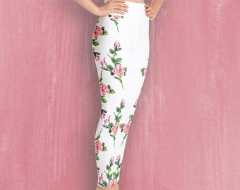cfb9c19ce0c82 White roses high waist leggings for women with pink roses print , Nature  Inspired Women's Leggings, Tights, Yoga Pants, XS-XL,