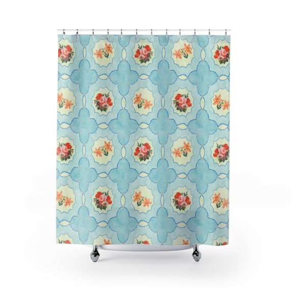 Blue Floral Shower Curtains Feminine Shower Curtain Gift Etsy