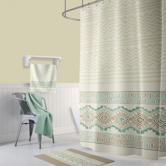 Ronlad 18 Piece Shower curtain set with Geometric design Made of 100/%polyester.
