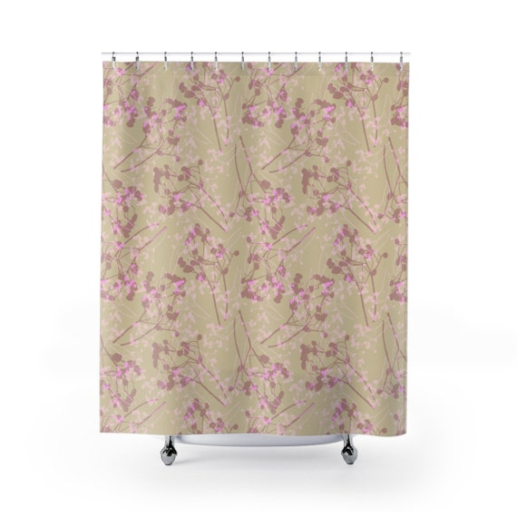 Pink Shower Curtain Feminine Shower Curtain Gift For Her Etsy