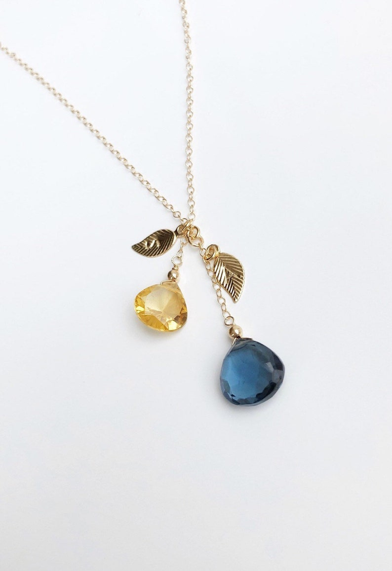 c9a9a29f6ba96 Family Birthstone Necklace, Hand Stamped Initial Necklace, Custom  Birthstone Necklace, Dainty Sterling Silver, Gold Filled Leaf Necklace