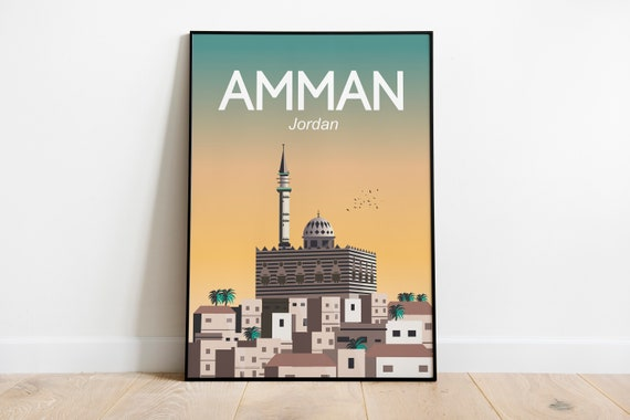 Amman Jordan Travel Poster Wall Art Poster Print Sizes Inches 8x10 12x16 18x24 24x36