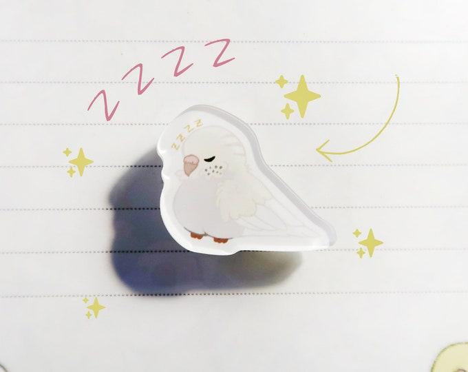 """White Budgie Pin / Parakeet / Acrylic Pin 1"""" / Cute Kawaii Bird Birb Ita Bag"""