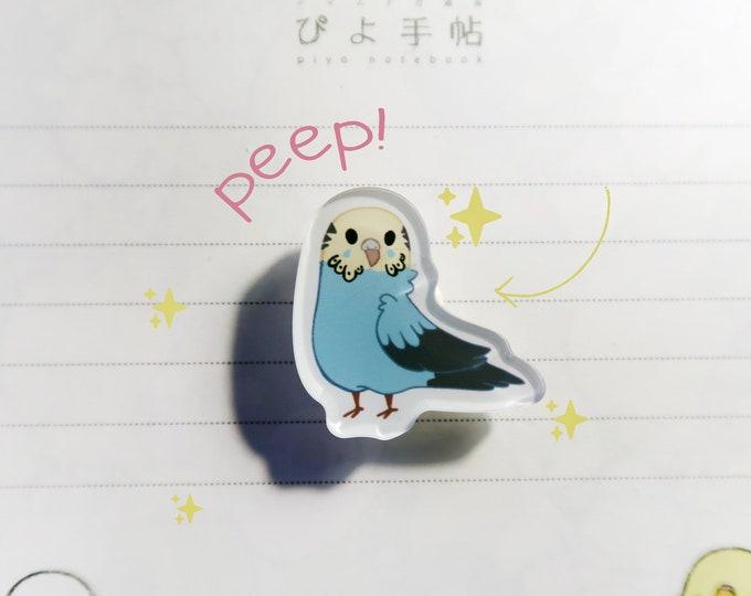 """Blue Budgie Pin / Parakeet / Acrylic Pin 1"""" / Cute Kawaii Bird Birb Ita Bag"""