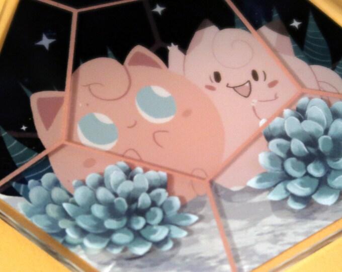 "Poké-rariums - Pokemon Terrariums / 3"" Keyring / Succulent, Cactus, Terrarium, Plant, Pikachu, Eevee, Jigglypuff"