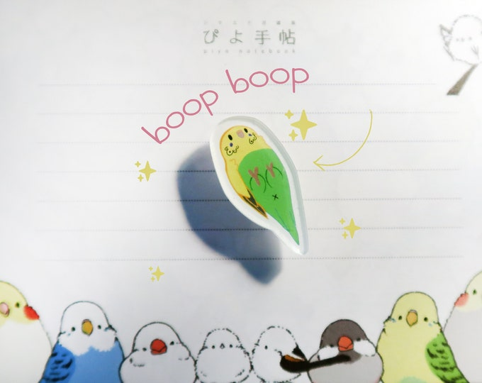 """Green Budgie Pin / Parakeet / Acrylic Pin 1"""" / Cute Kawaii Bird Birb Ita Bag"""