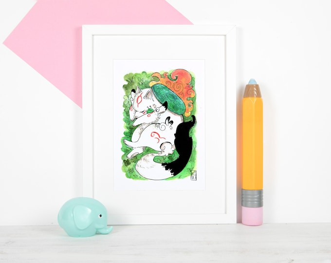 "Sun Goddess 5x7"" Print / Okami Inspired Photo Print, Japanese sumi-e style, traditional art"