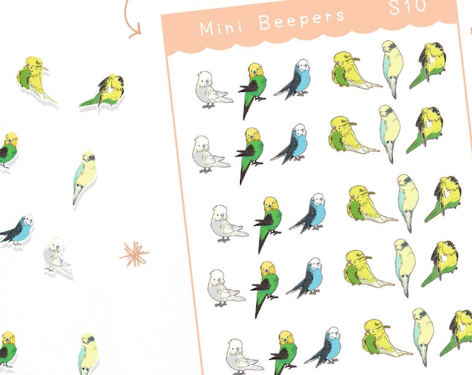 Mini Budgie Planner Stickers / Bullet Journal / Cute Stickers / Labels / Parakeet